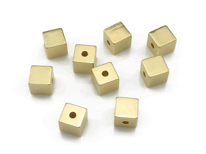 Gold Vermeil Square Bead 4mm