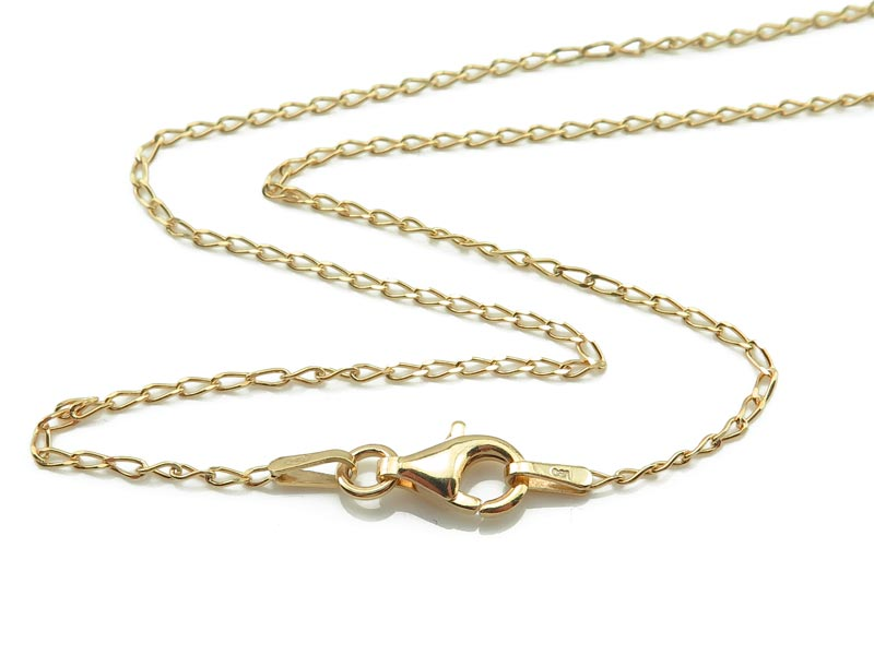 Gold Vermeil Curb Chain Necklace with Clasp 15.75''