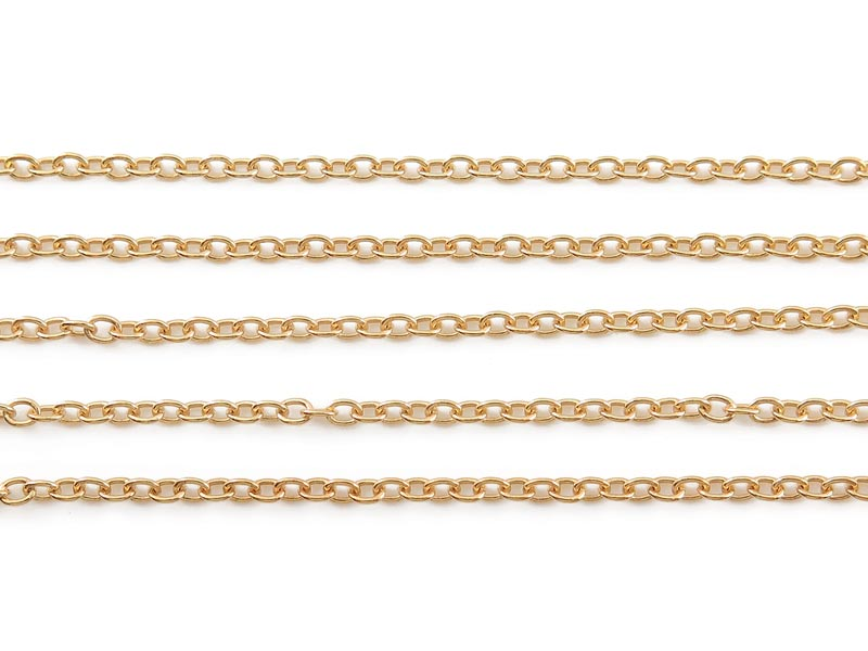Gold Vermeil Cable Chain 2.25mm x 1.75mm ~ 5 metres (16.4ft)