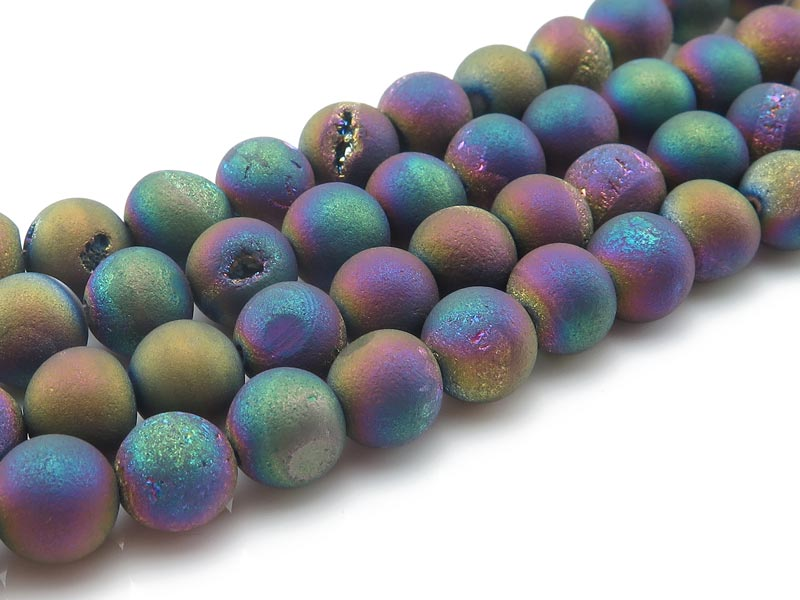 Rainbow Druzy Agate Matt Round Beads 8.5mm ~ 15.75'' Strand
