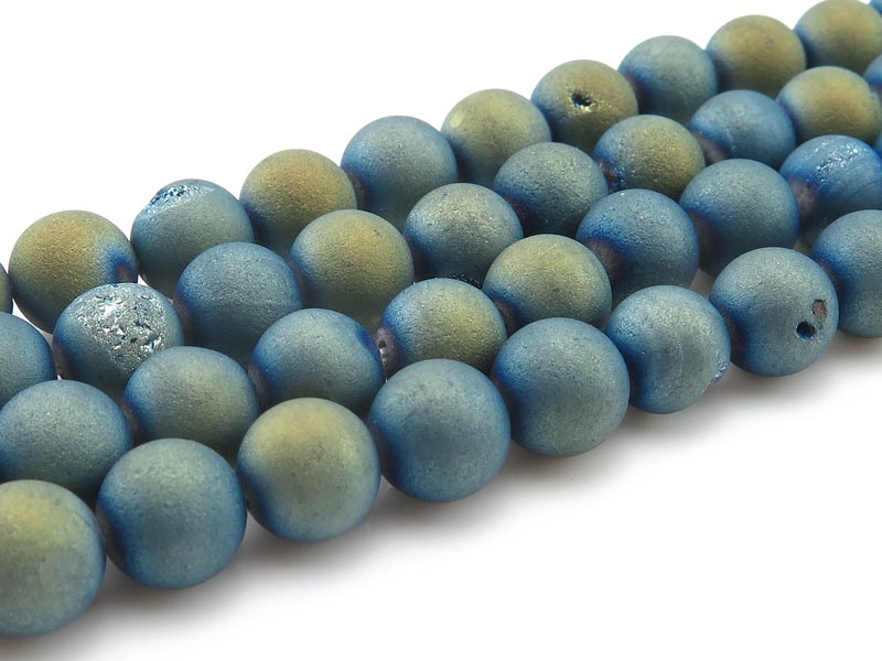 Blue Gold Druzy Agate Matt Round Beads 8.5mm ~ 15.75'' Strand