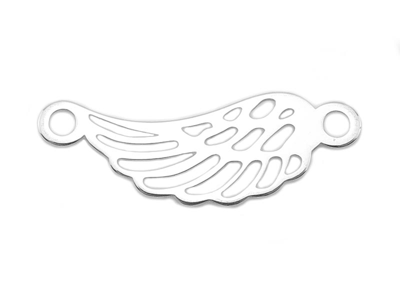 Sterling Silver Angel Wing Connector 19mm