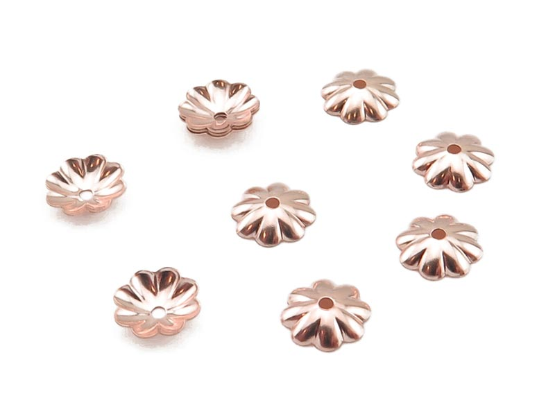 Rose Gold Filled Flower Bead Cap 6mm