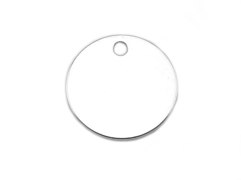 Sterling Silver Round Tag 12.75mm (Thick) - Optional Engraving