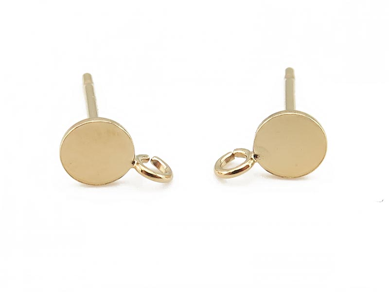 Gold Filled Disc Ear Post w/Ring 4mm ~ PAIR