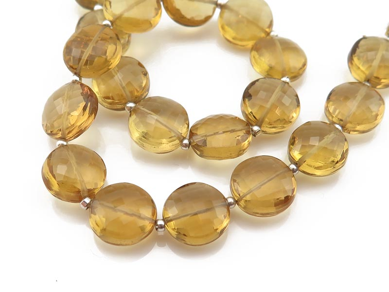 AAA Honey Quartz Faceted Coin Beads 9.5-10mm ~ 8'' Strand