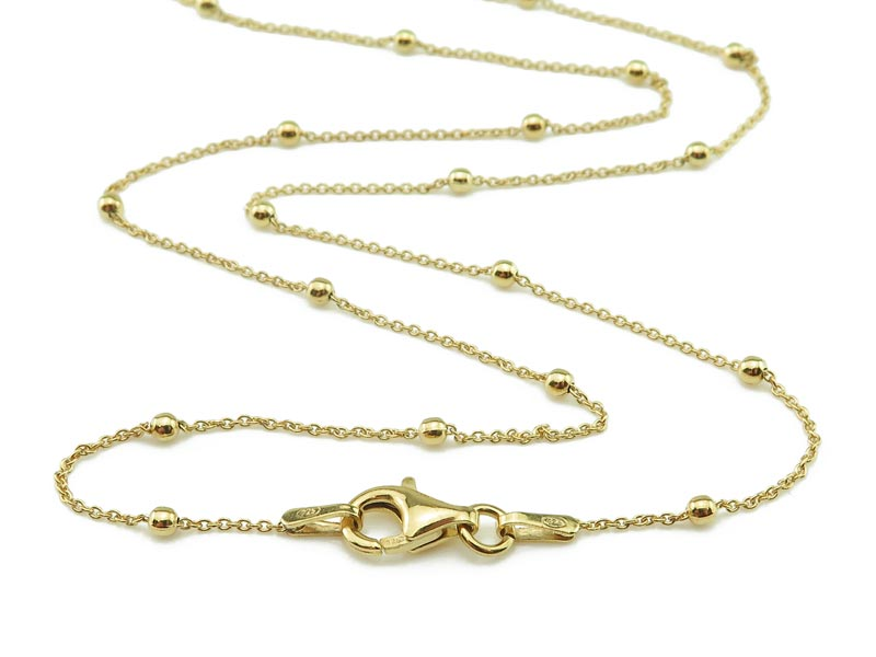 Gold Vermeil Satellite Chain Necklace with Clasp 19.75''