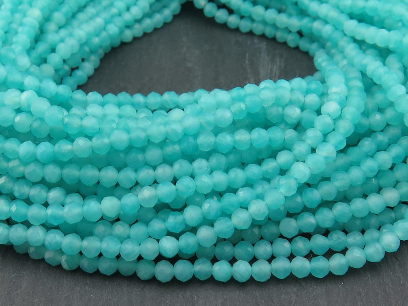 AAA Amazonite Micro-Faceted Round Beads 3.25mm ~ 12.5'' Strand