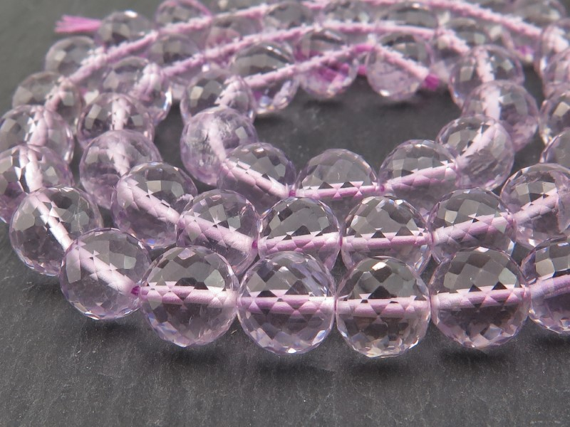 AAA Pink Amethyst Faceted Round Beads 7mm ~ 15'' Strand