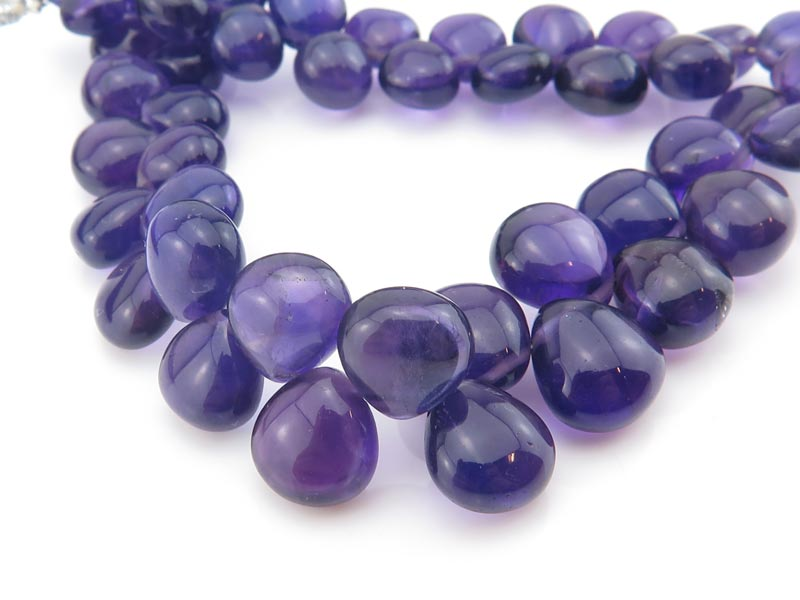 AA Amethyst Smooth Heart Briolettes 7-9mm ~ 8'' Strand