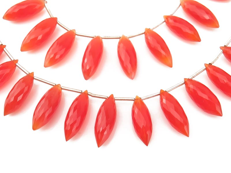AAA Carnelian Faceted Dew Drop Briolettes 17-19mm (12)