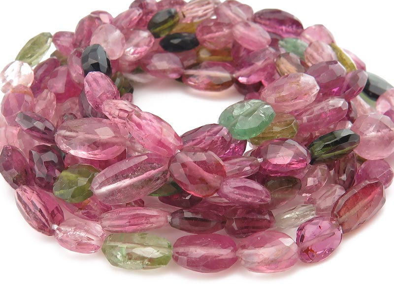 AA Multi-Tourmaline Faceted Oval Beads 6-9mm ~ 16'' Strand