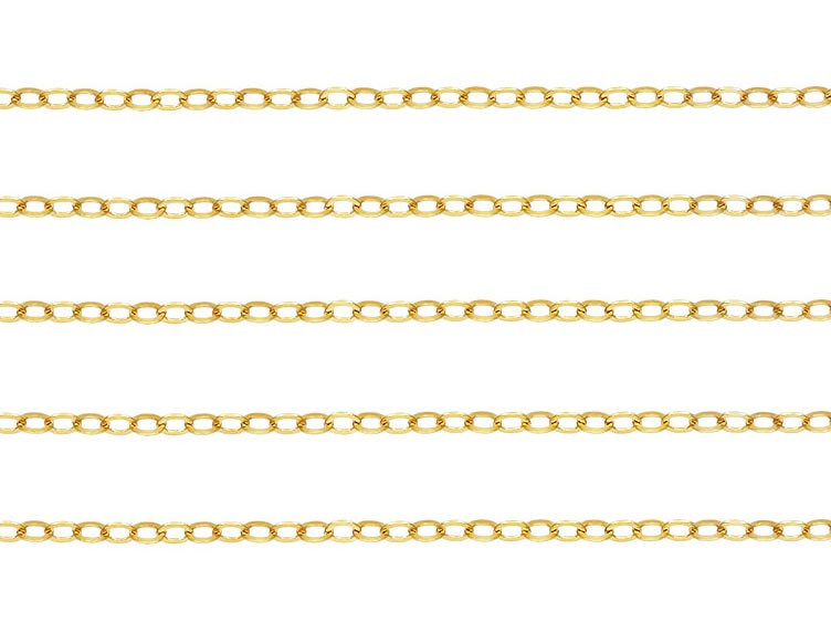 14K Gold Flat Cable Chain 2mm x 1.4mm ~ by the inch