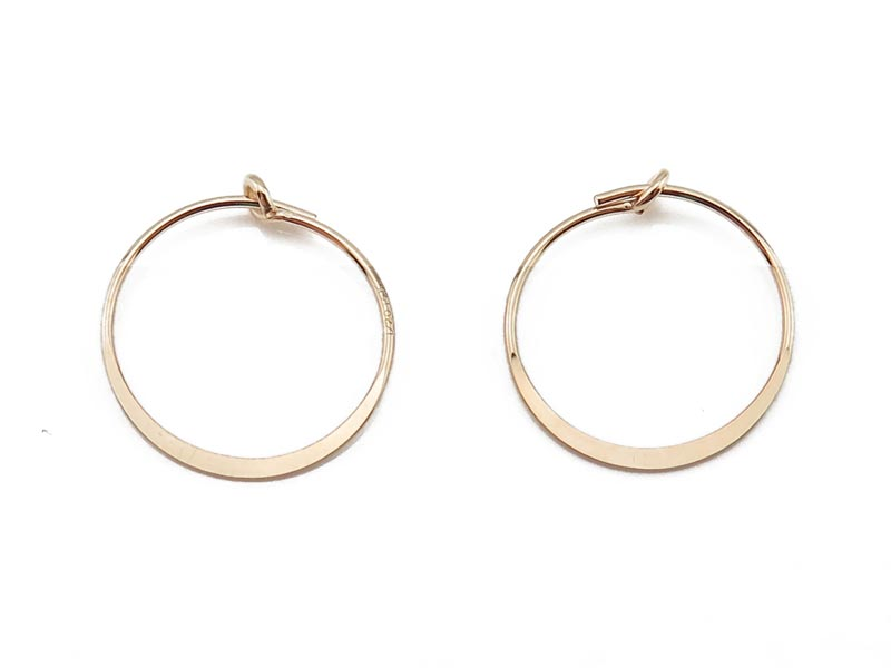 Gold Filled Flattened Hoop 15mm ~ PAIR