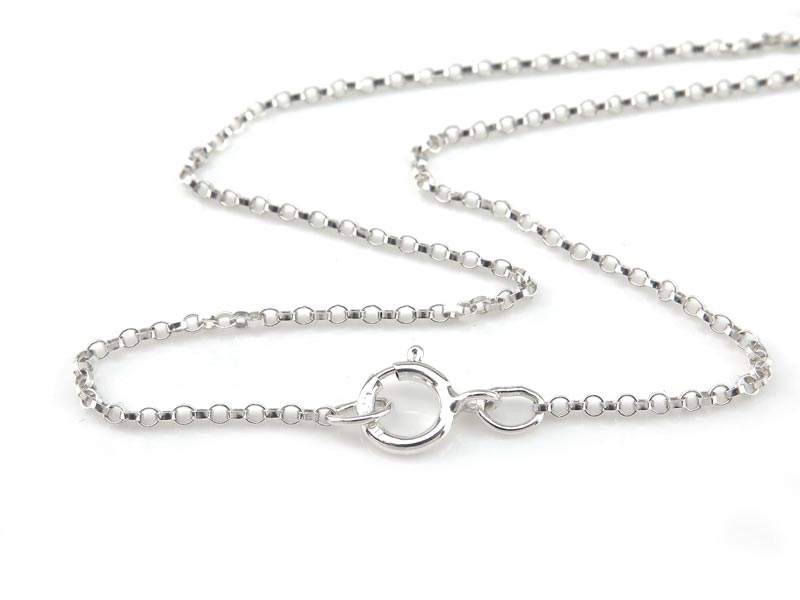 Sterling Silver Rolo (1.3mm) Necklace with Spring Clasp ~ 18''