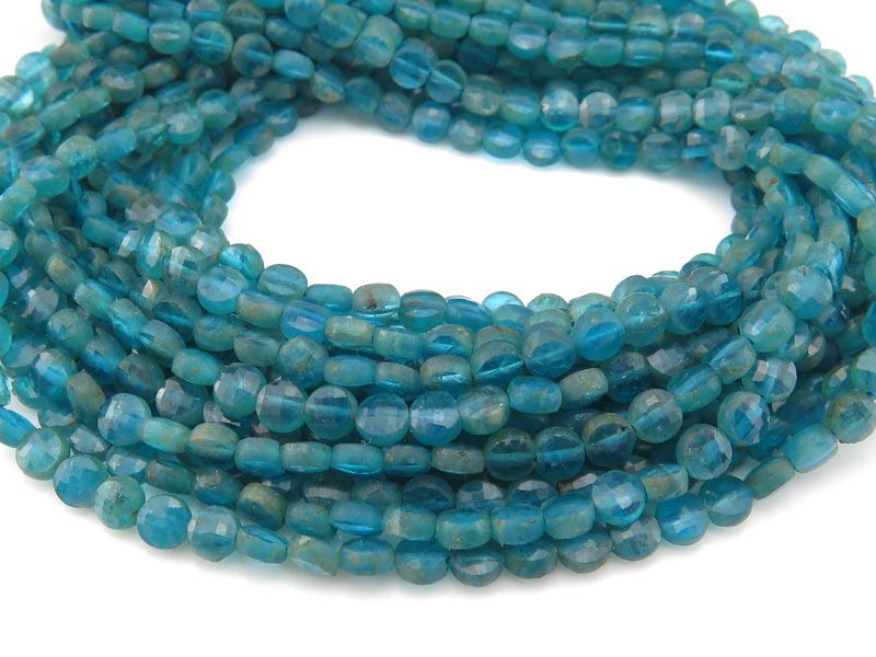 Peacock Apatite Faceted Coin Beads 3.75mm ~ 12.5'' Strand