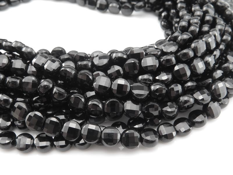AAA Black Spinel Faceted Coin Beads 4mm ~ 12.5'' Strand