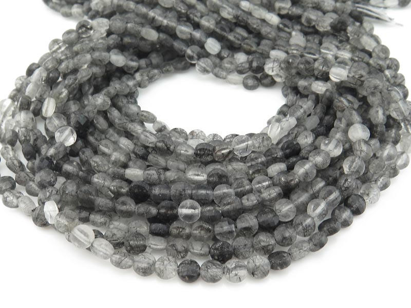 AA Tourmalinated Quartz Faceted Coin Beads 4mm ~ 12.5'' Strand