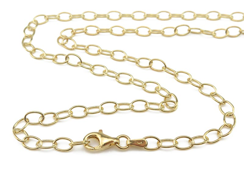 Gold Vermeil Cable Chain (5.5mm) Necklace with Clasp 17.75''