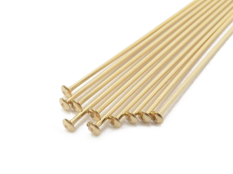 Gold Filled Head Pin ~ 24 gauge ~ 2'' ~ Pack of 10
