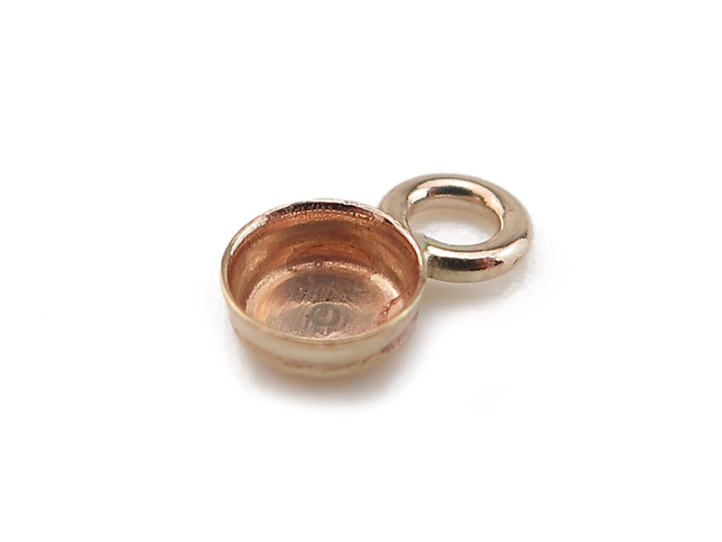 Gold Filled Round Bezel Cup Setting with Loop 3mm