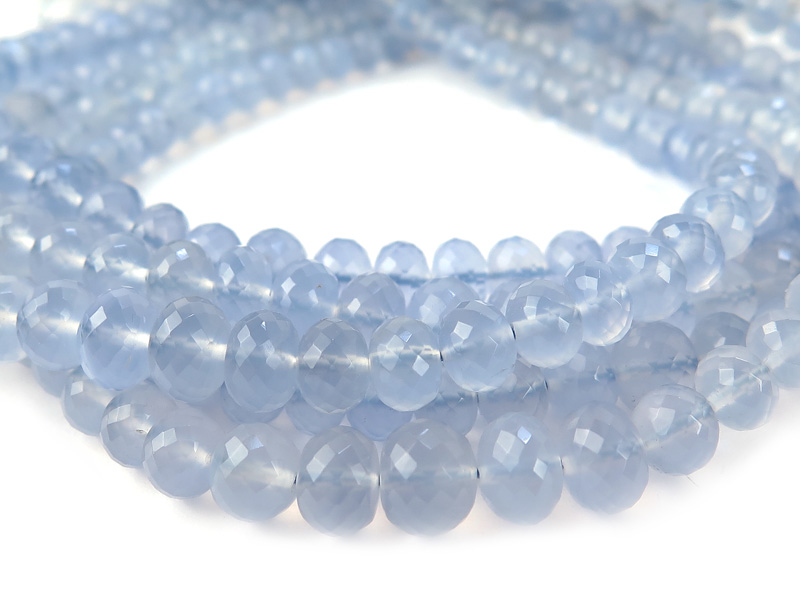 AA+ Chalcedony Micro-Faceted Rondelles ~ Various Sizes ~ 8'' Strand