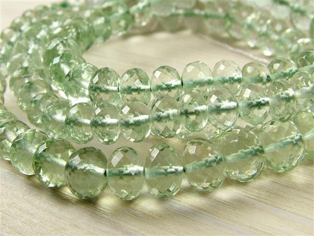 AA+ Green Amethyst Micro-Faceted Rondelles ~ Various Sizes