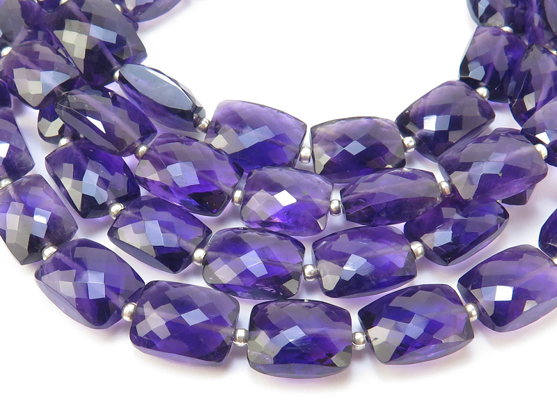 AA+ Amethyst Micro-Faceted Rectangle Beads 10-12mm~ 9'' Strand