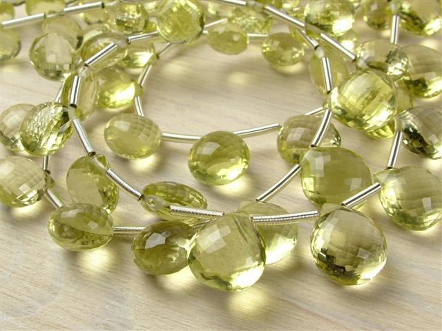 AA+ Lemon Quartz Micro-Faceted Heart Briolettes ~ Various Sizes