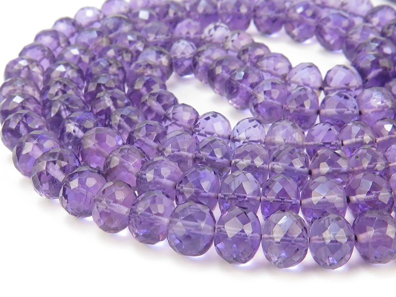 AAA Amethyst Micro-Faceted Rondelles 5-7mm ~ 15'' Strand