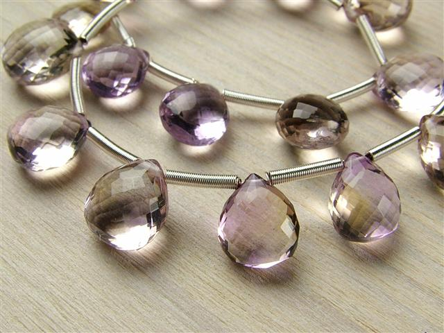 AAA Ametrine Micro-Faceted Heart Briolettes ~ Various Sizes