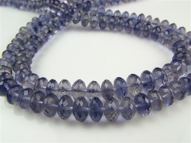 AA+ Iolite Micro-Faceted Rondelles 5-7mm ~ 15'' Strand