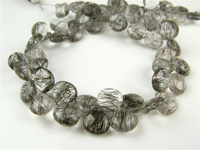 AA Tourmalinated Quartz Faceted Heart Briolettes 6.5-7mm