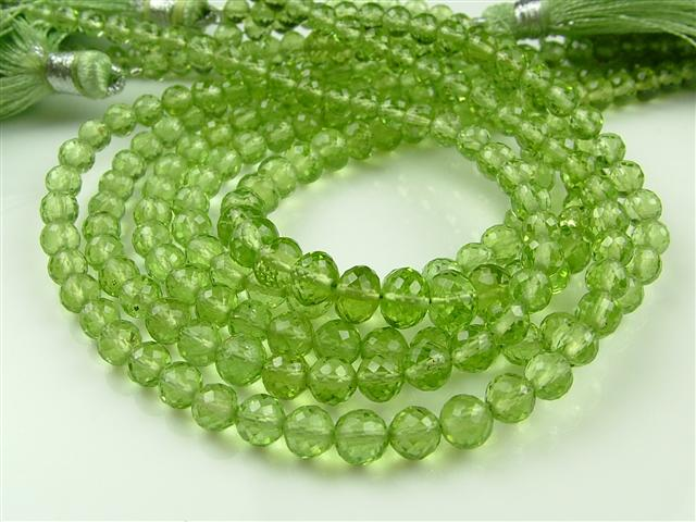 AA+ Peridot Micro-Faceted Round Beads ~ Various Sizes ~ 8'' Strand