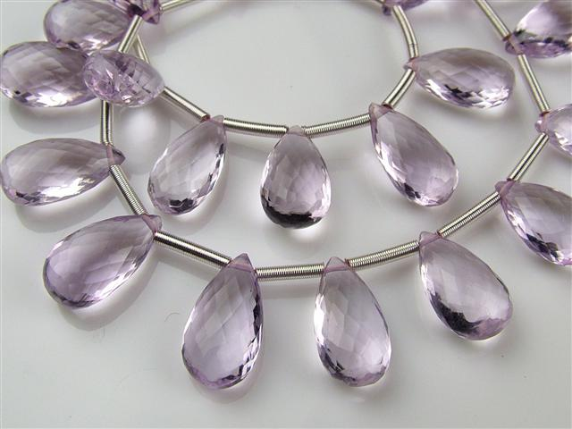 AAA Pink Amethyst Micro-Faceted Pear Briolettes 12-13mm ~ 9'' Strand