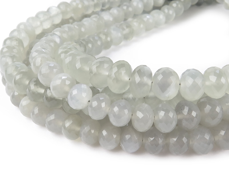 AAA Grey Moonstone Micro-Faceted Rondelles ~ Various Sizes ~ 8'' Strand