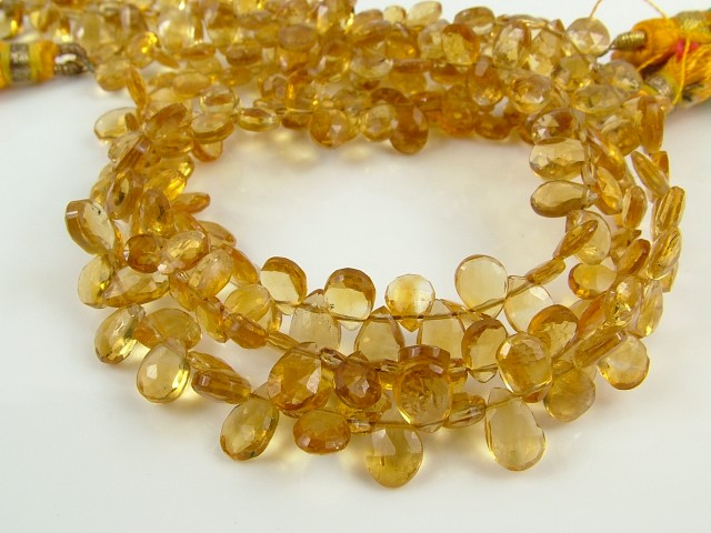 AA+ Citrine Faceted Pear Briolettes 5mm