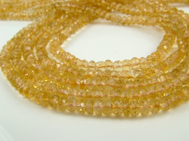 Citrine Faceted Rondelles 3.75mm ~ 14'' Strand