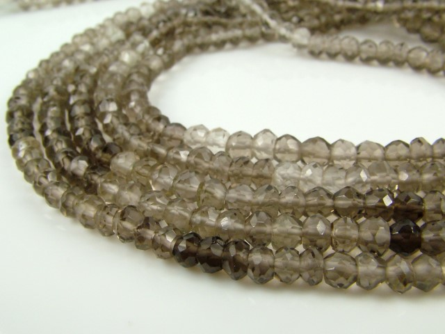 Smoky Quartz Faceted Rondelles 3.5-4mm ~ 14'' Strand