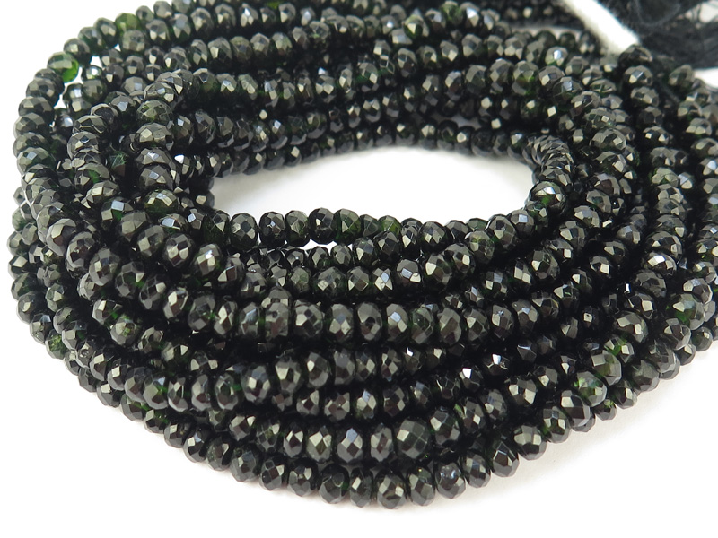Black Tourmaline Faceted Rondelles 3.5mm ~ 14'' Strand