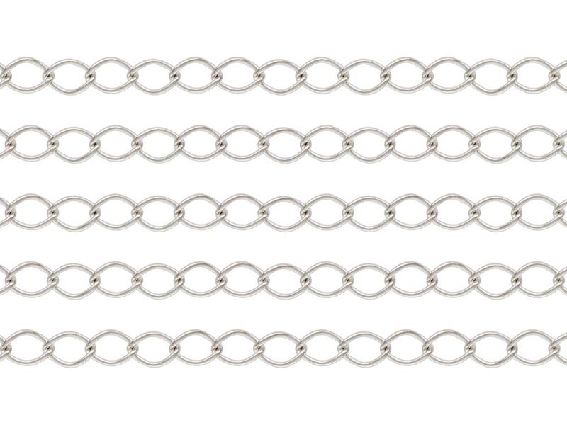 Sterling Silver Curb Chain 4 x 2.75mm ~ by the Foot