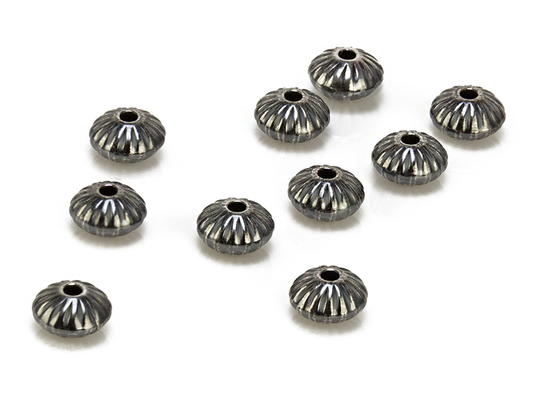 Sterling Silver Oxidised Corrugated Saucer Bead 3.3mm ~ Pack of 10