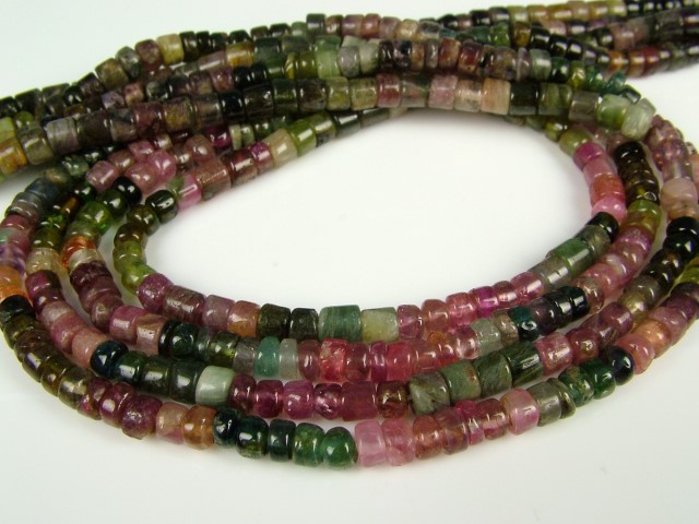 Multi-Tourmaline Smooth Tyre Beads 4mm ~ 14'' Strand