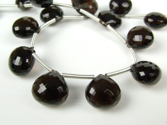 AAA Smoky Quartz Micro-Faceted Heart Briolettes ~ Various Sizes