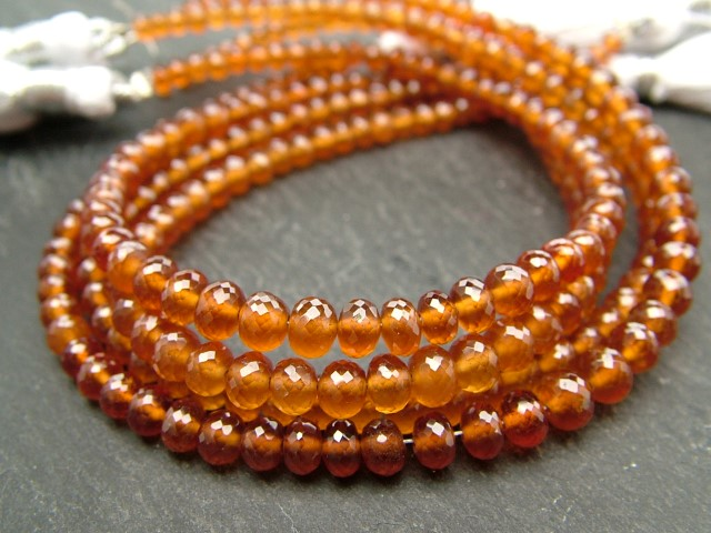 AAA Spessartine Garnet Micro-Faceted Rondelles 3.75-4.25mm ~ 8'' Strand