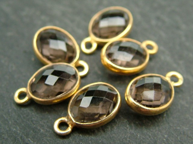 Gold Vermeil Smoky Quartz Oval Charm 12mm