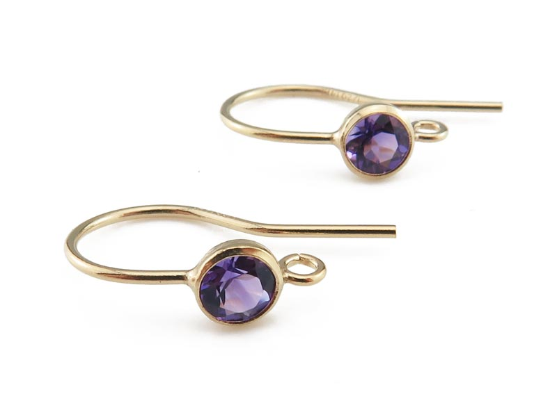 Gold Filled Amethyst Ear Wire ~ PAIR