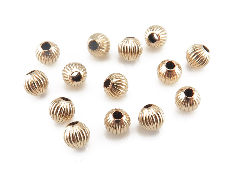 Gold Filled Corrugated Bead 3mm ~ Pack of 10
