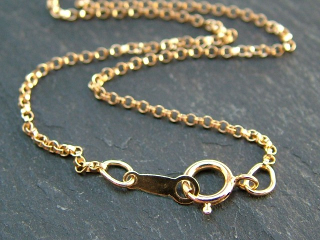 Gold Filled Rolo Chain Necklace with Spring Clasp ~ 20''