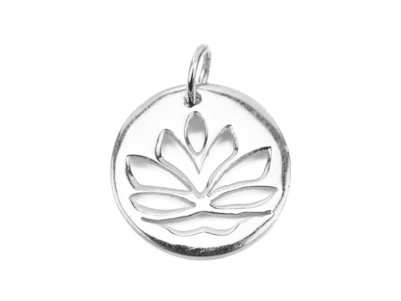 Sterling Silver Lotus Flower Pendant 15mm